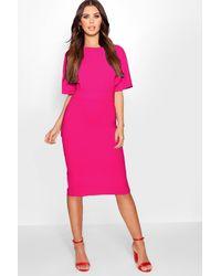 Boohoo - Pink Petite Formal Wiggle Midi Dress - Lyst