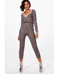 bb39f907cec Lyst - Boohoo Slouch Varsity Sports Stripe Jumpsuit in Gray