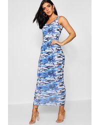 Boohoo Blue Camo Print Maxi Dress