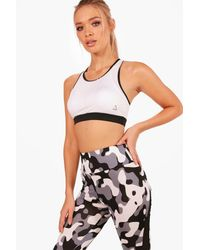Boohoo - White Fit Medium Support Sports Bra - Lyst