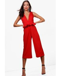 abc5a649cb Boohoo Ruffle Jumpsuit in Red - Lyst