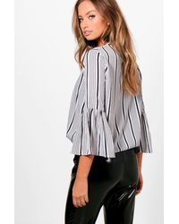 Boohoo - White Hailey Stripe Woven Flared Sleeve Top - Lyst