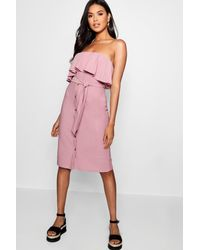 b443929ee2b6 Boohoo Bandeau Ruffle Tie Waist Midi Dress in Purple - Lyst