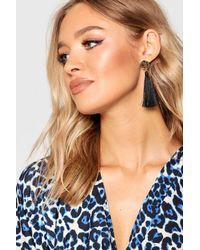 Boohoo - Black Coin Tassel Earrings - Lyst