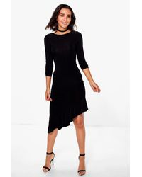73462f6f6ccd7 Boohoo Esme Long Sleeve Frill Asymmetric Midi Dress in Black - Lyst