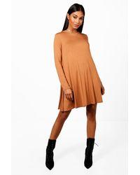 cb99c5ca3ec Boohoo Scoop Neck Long Sleeve Swing Dress in Orange - Lyst