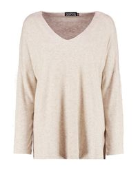 Boohoo Natural V Neck Knitted Top