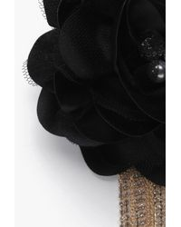Boohoo - Black Kate Floral Embellished Diamante Chain Brooch - Lyst