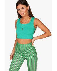 Boohoo - Green Petite Keira Square Neck Crop Top - Lyst