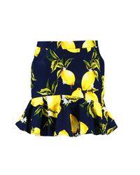 Boohoo - Blue Petite Woven Lemon Print Ruffle Hem Skirt - Lyst