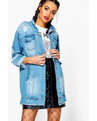 Boohoo - Blue Lia Paint Splatter Distress Long Line Denim Jacket - Lyst