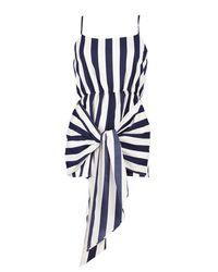 Boohoo - Blue Wrap Tie Detail Skort Playsuit - Lyst