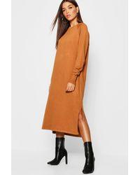 6b3abb7e83844 Lyst - Boohoo Oversized Knitted Midaxi Dress in Orange