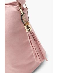 Boohoo - Pink Laura Suedette Bucket Cross Body Bag - Lyst