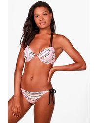 Boohoo - Multicolor Menorca Neon Aztec Strappy Back Underwired Bikini - Lyst