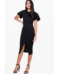 Boohoo | Black Hollie Angel Sleeve Wiggle Midi Dress | Lyst