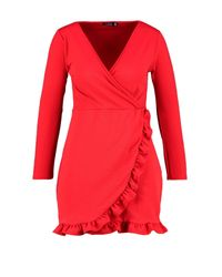 Boohoo - Red Plus Long Sleeve Ruffle Wrap Dress - Lyst