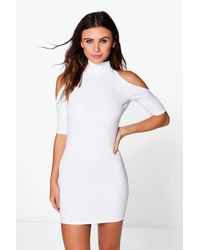 Boohoo | White Petite Rhianne Cold Shoulder Turtle Neck Dress | Lyst
