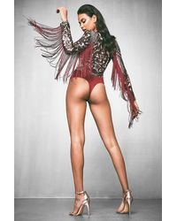 Boohoo - Red Premium Long Sleeve Tassle & Sequin Bodysuit - Lyst