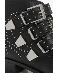 Boohoo - Black Lara Pin Stud And Buckle Strap Ankle Boot - Lyst