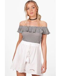 Boohoo - White Willow Embroidered Tassle Trim Skater Skirt - Lyst