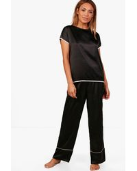 Boohoo - Black Violet Contrast Piping Tee And Flared Trouser Set - Lyst