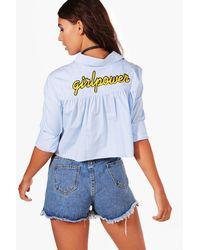 Boohoo - Blue Petite Vicky Tie Front Slogan Back Shirt - Lyst