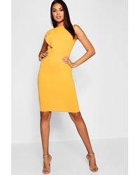 b78918ecc340 Boohoo Ruffle Detail Midi Dress in Yellow - Lyst