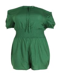 Boohoo - Green Plus Sheared Waist Playsuit - Lyst