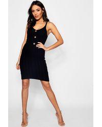 9019e2ecb096f Boohoo Rib Knit Button Front Midi Dress in Black - Lyst