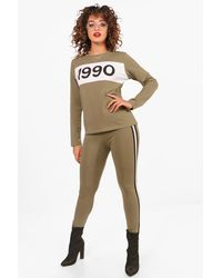 Boohoo - Natural Hailey 1990 Top & Legging Set - Lyst