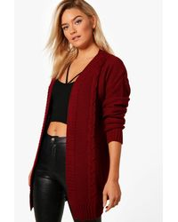 Boohoo - Red Daisy Edge To Edge Cable Knit Cardigan - Lyst