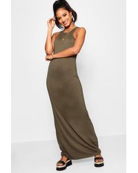 53eb7281e8c7 Boohoo Basic Racer Front Maxi Dress in Green - Lyst