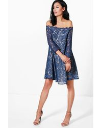 Boohoo - Blue Maternity Abbie Eyelash Lace Off The Shoulder Skater Dress - Lyst