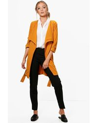 Boohoo - Multicolor Jade Waterfall Belted Duster - Lyst