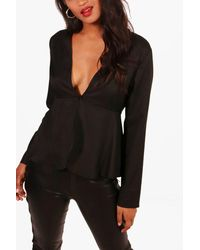 Boohoo - White Plunge Button Front Peplum Blouse - Lyst