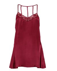 Boohoo - Red Hailey Lace Trim Strappy Slip Dress - Lyst
