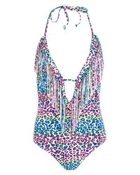 Boohoo - White Prague Leopard Print Fringed Plunge Swimsuit - Lyst