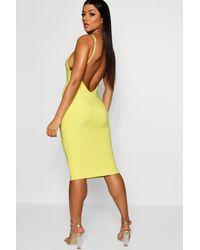 3d5482373ca6 Boohoo Double Slinky Scoop Back Midaxi Dress in Yellow - Lyst