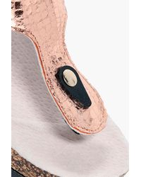 507200a20643e1 Lyst - Boohoo Demi Thong Footbed Sandal in Metallic