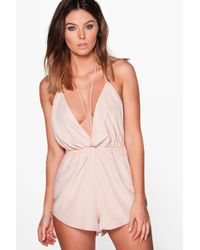 Boohoo - Pink Fiona Satin Skinny Strap Backless Teddy - Lyst