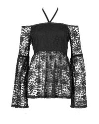Boohoo - Black Hailey Crochet Flare Style Peplum Top - Lyst