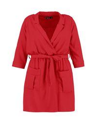 Boohoo - Red Plus Tie Waist Woven Mini Shirt Dress - Lyst