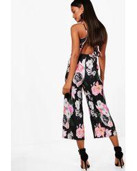 Boohoo - Black Floral Plisse Culotte Jumpsuit - Lyst