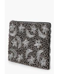 Boohoo - Black Moon And Stars Embellished Clutch Bag - Lyst
