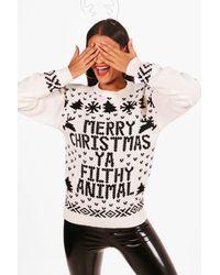 Boohoo - Natural Merry Christmas Ya Filthy Animal Jumper - Lyst