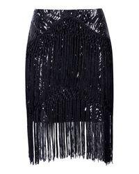 Boohoo - Black Premium Eva Sequin & Tassle Skirt - Lyst