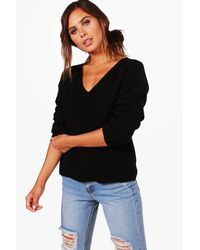 Boohoo - Black Petite Teri Ruched Sleeve V Neck Jumper - Lyst
