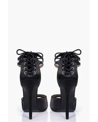 Boohoo - Black Annie Satin Lace Back Peeptoe Two Part - Lyst