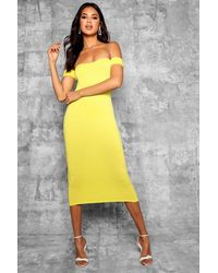 94f085b501df Lyst - Boohoo Tall Off Shoulder Curved Neck Midi Dress in Yellow